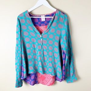 Lucy Love Colorful Hi Lo Blouse